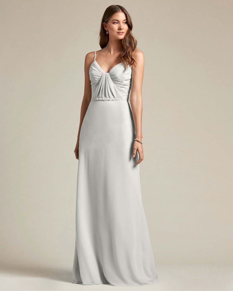 Silver Unique Ruched Design V Neckline Gown With Waistband Adornment
