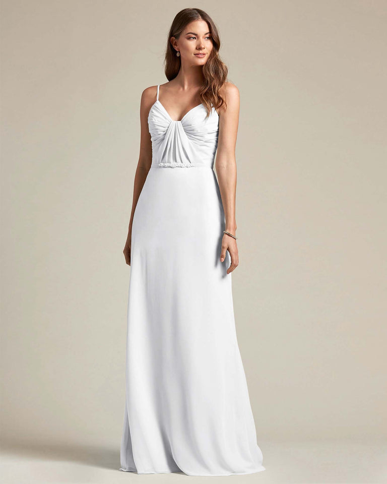 White Unique Ruched Design V Neckline Gown With Waistband Adornment