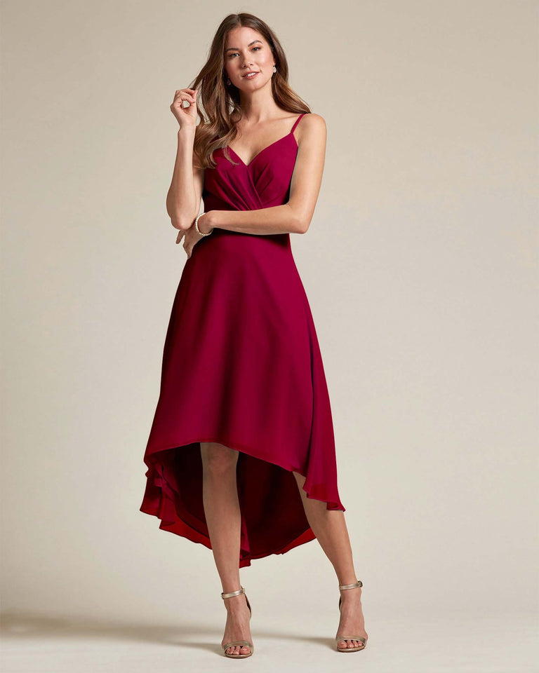 Burgundy Sexy Criss Cross Open Back Formal Dress With High to Low Skirt