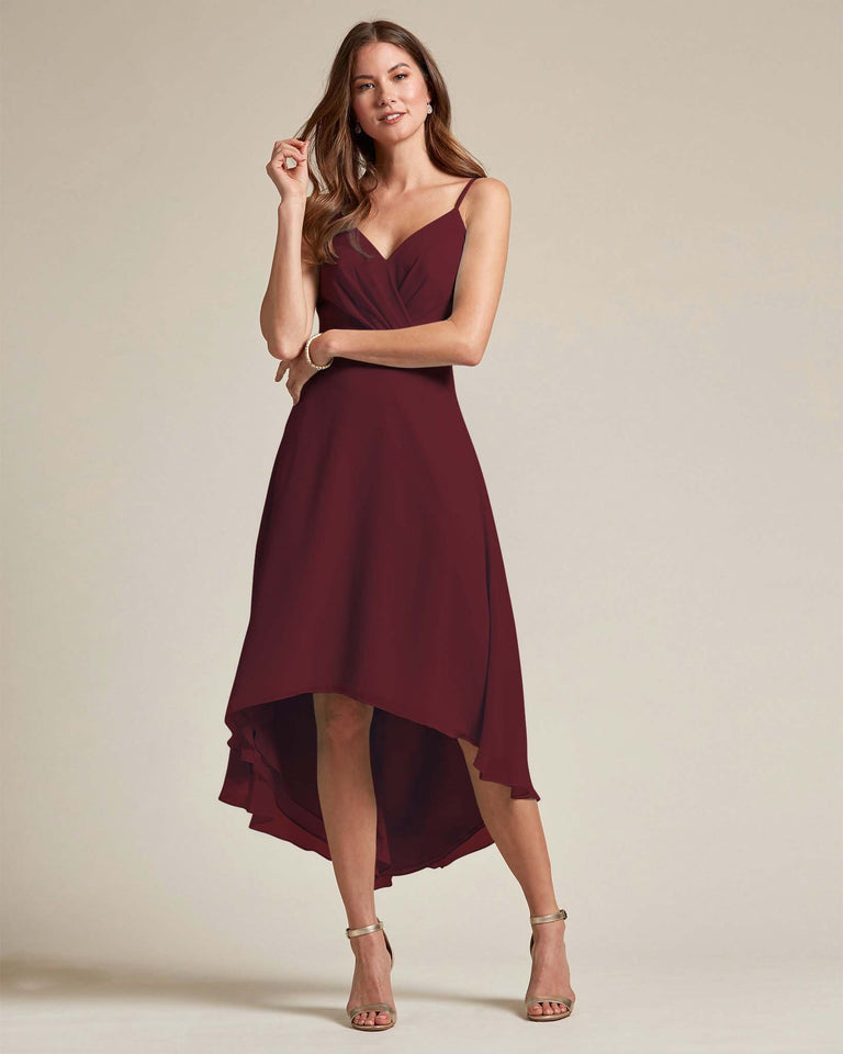 Claret Sexy Criss Cross Open Back Formal Dress With High to Low Skirt