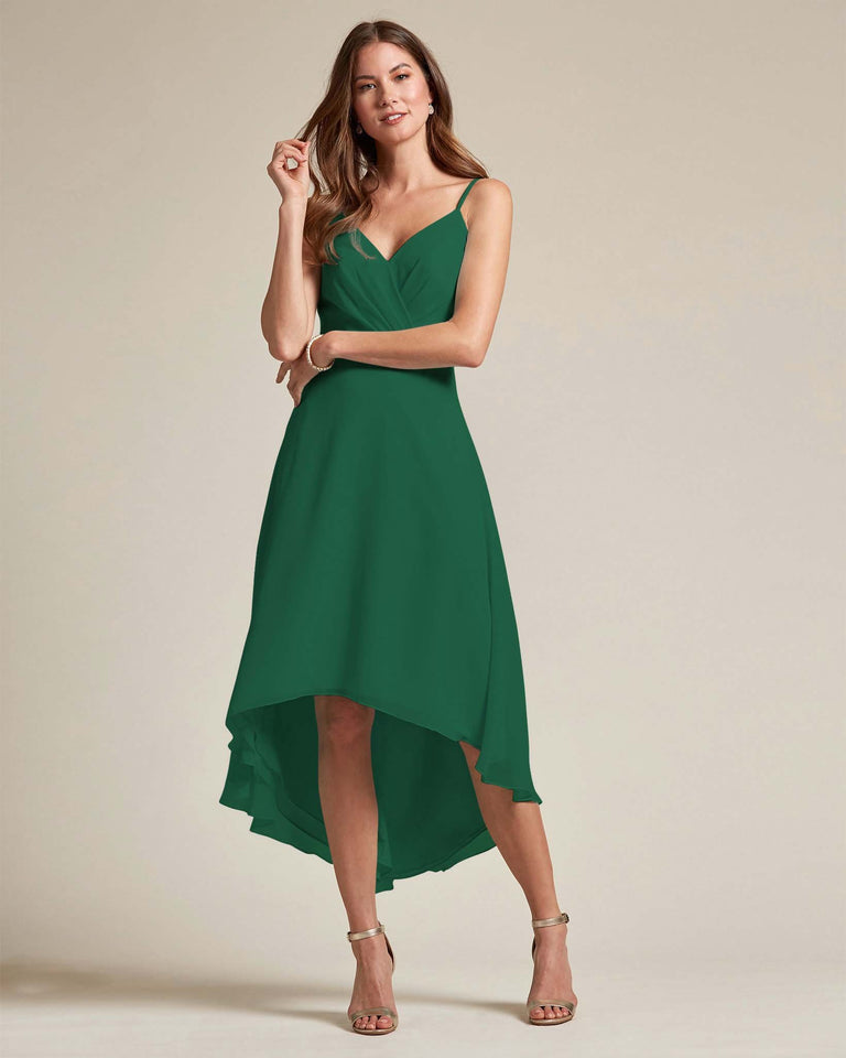 Dark Green Sexy Criss Cross Open Back Formal Dress With High to Low Skirt