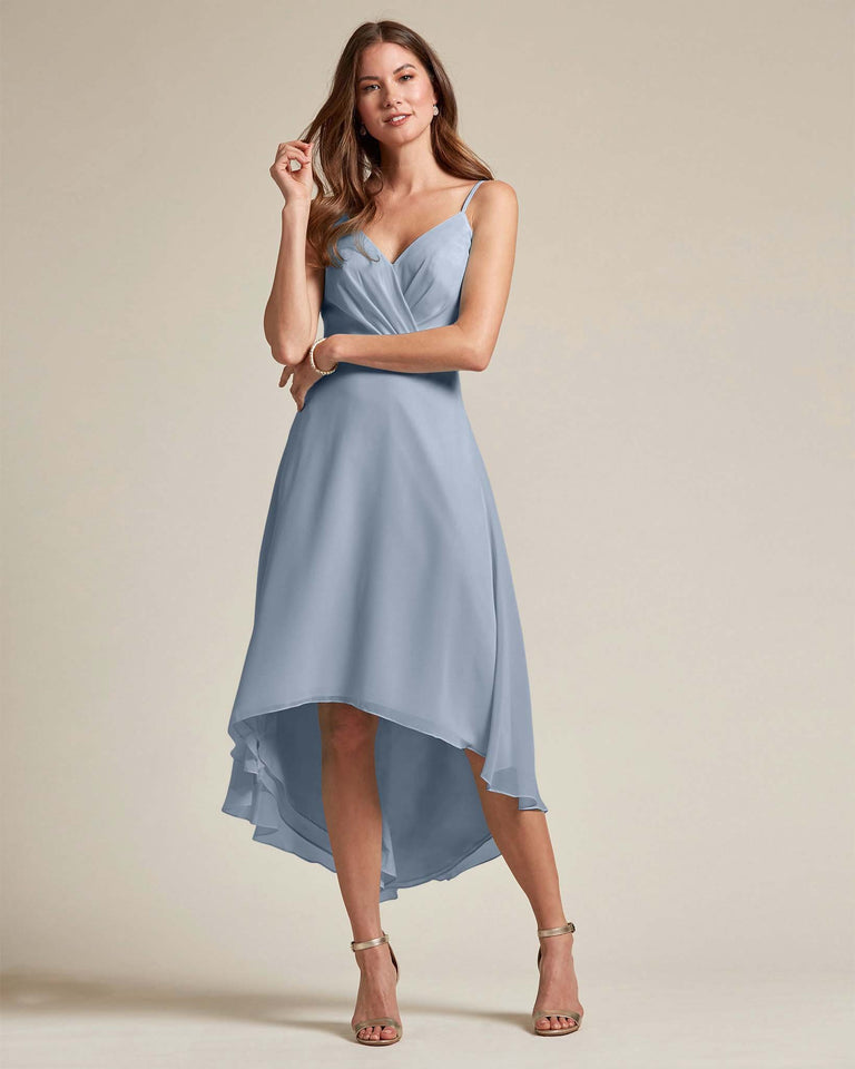 Dusty Blue Sexy Criss Cross Open Back Formal Dress With High to Low Skirt