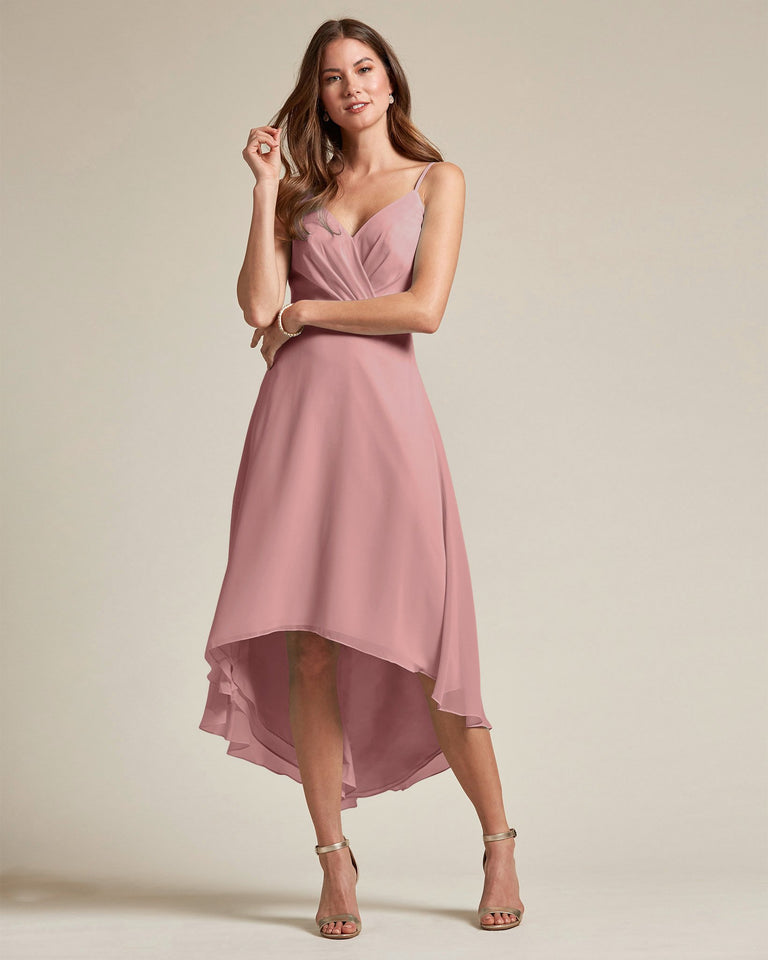 Dusty Rose Sexy Criss Cross Open Back Formal Dress With High to Low Skirt