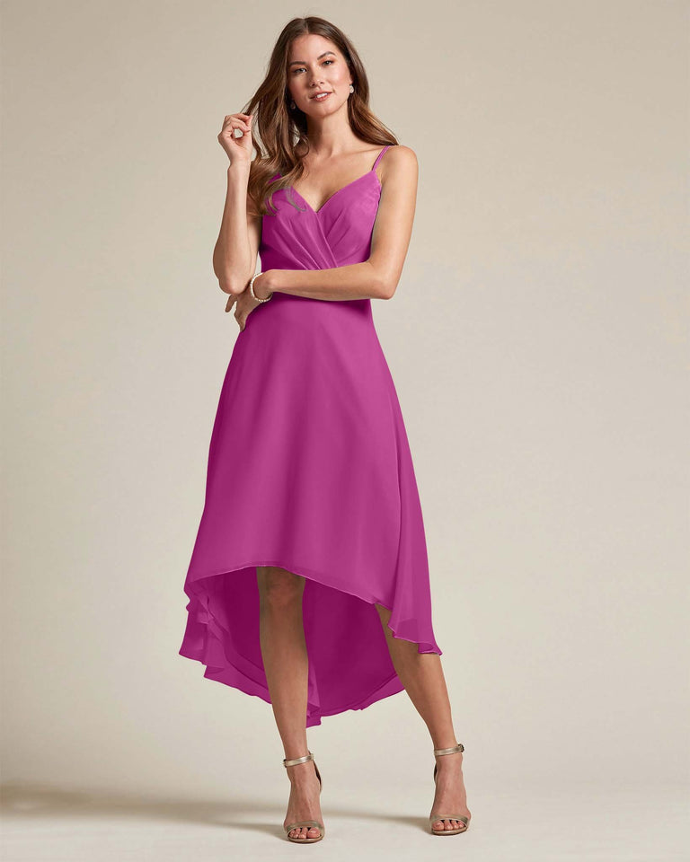 Fuchsia Sexy Criss Cross Open Back Formal Dress With High to Low Skirt