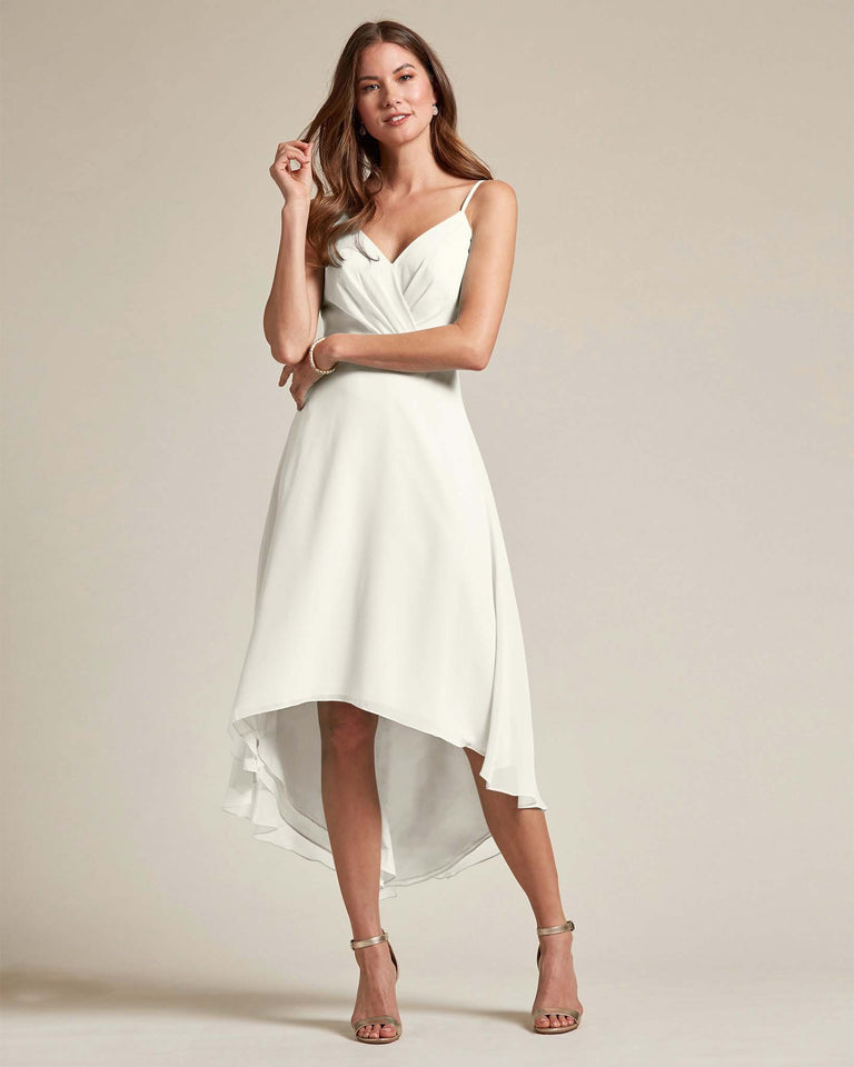 Ivory Sexy Criss Cross Open Back Formal Dress With High to Low Skirt