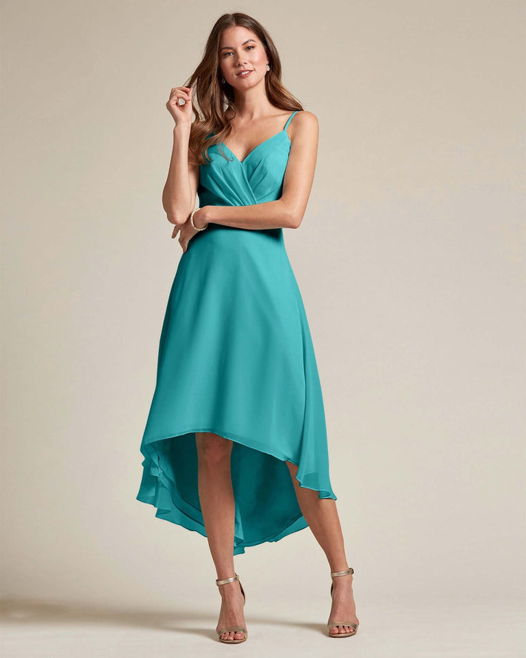 Jade Sexy Criss Cross Open Back Formal Dress With High to Low Skirt