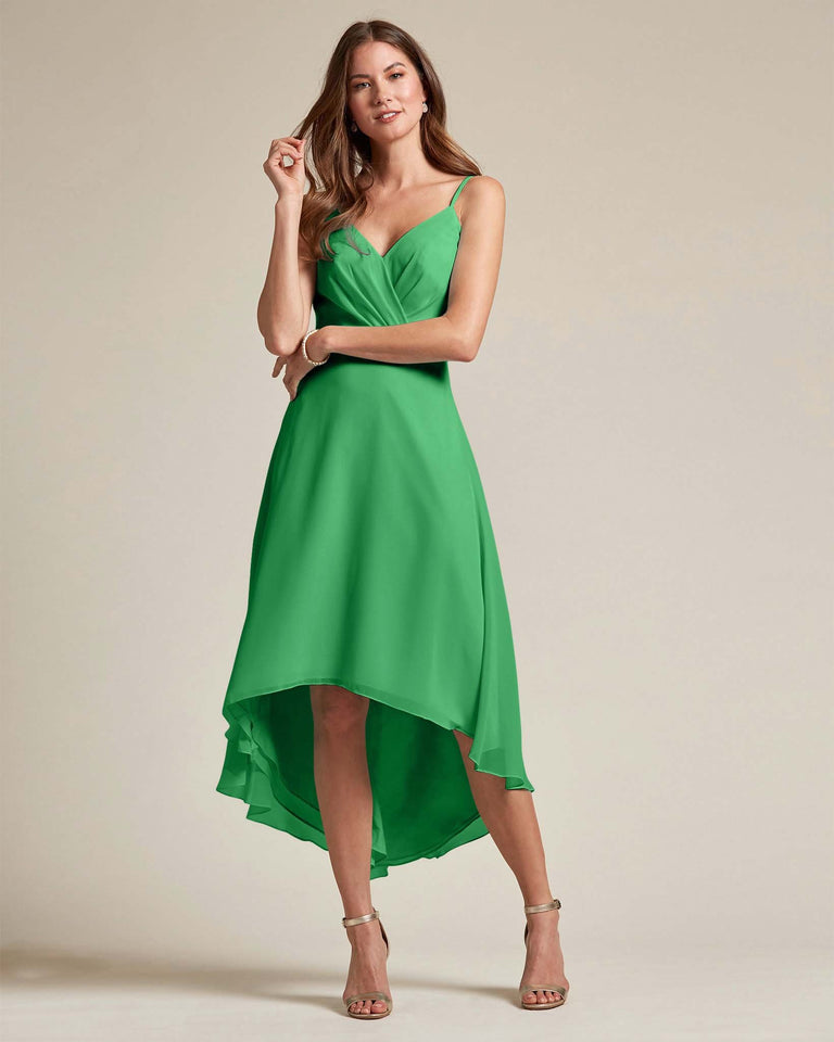 Jolly Green Sexy Criss Cross Open Back Formal Dress With High to Low Skirt