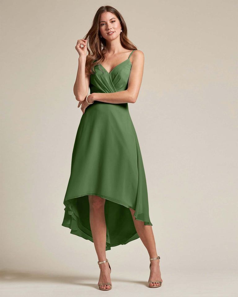Moss Sexy Criss Cross Open Back Formal Dress With High to Low Skirt