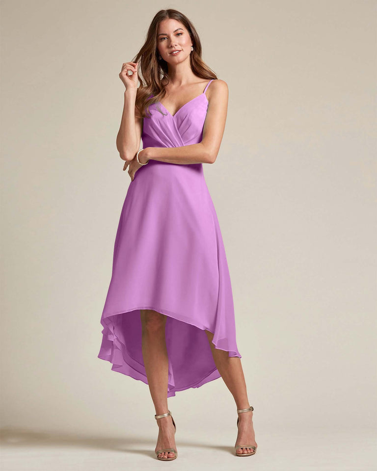 Purple Sexy Criss Cross Open Back Formal Dress With High to Low Skirt