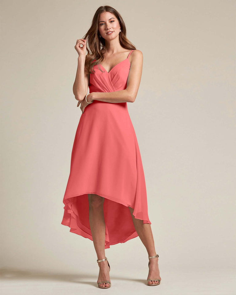 Watermelon Sexy Criss Cross Open Back Formal Dress With High to Low Skirt