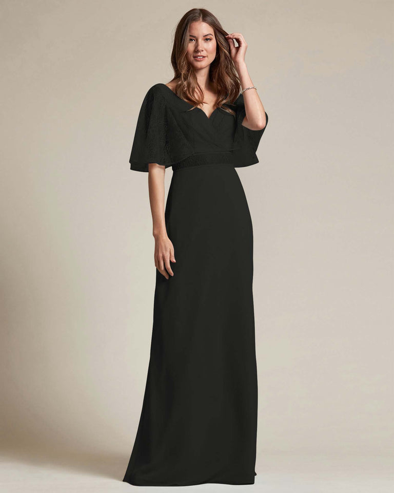 Black Bell Shaped Lace Sleeves With Waistline Cutout Bridesmaid Dress