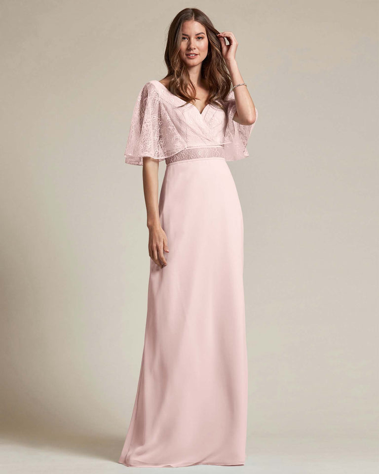 Blushing Pink Bell Shaped Lace Sleeves With Waistline Cutout Bridesmaid Dress
