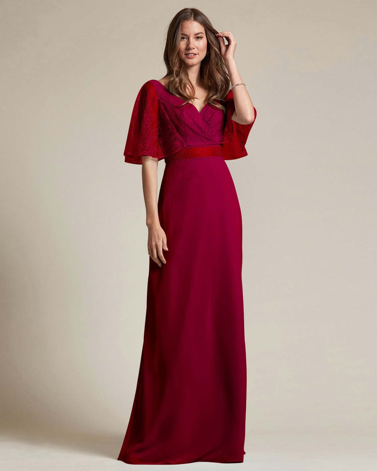 Burgundy Bell Shaped Lace Sleeves With Waistline Cutout Bridesmaid Dress