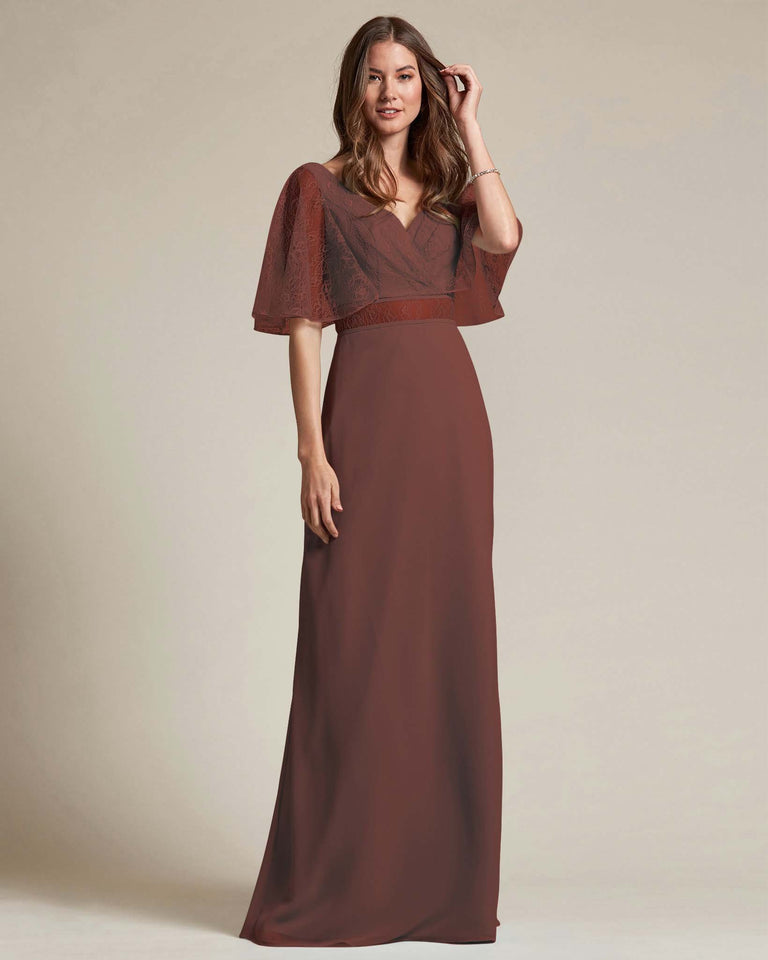 Chocolate Bell Shaped Lace Sleeves With Waistline Cutout Bridesmaid Dress