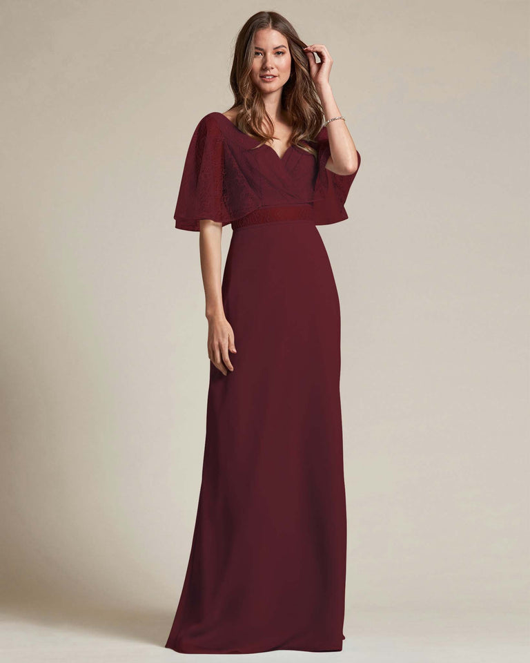 Claret Bell Shaped Lace Sleeves With Waistline Cutout Bridesmaid Dress