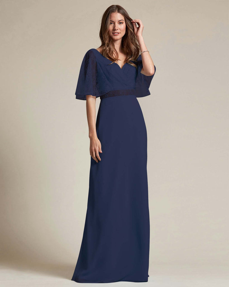 Dark Navy Bell Shaped Lace Sleeves With Waistline Cutout Bridesmaid Dress