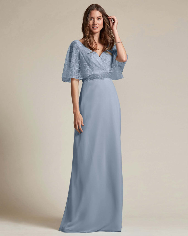 Dusty Blue Bell Shaped Lace Sleeves With Waistline Cutout Bridesmaid Dress