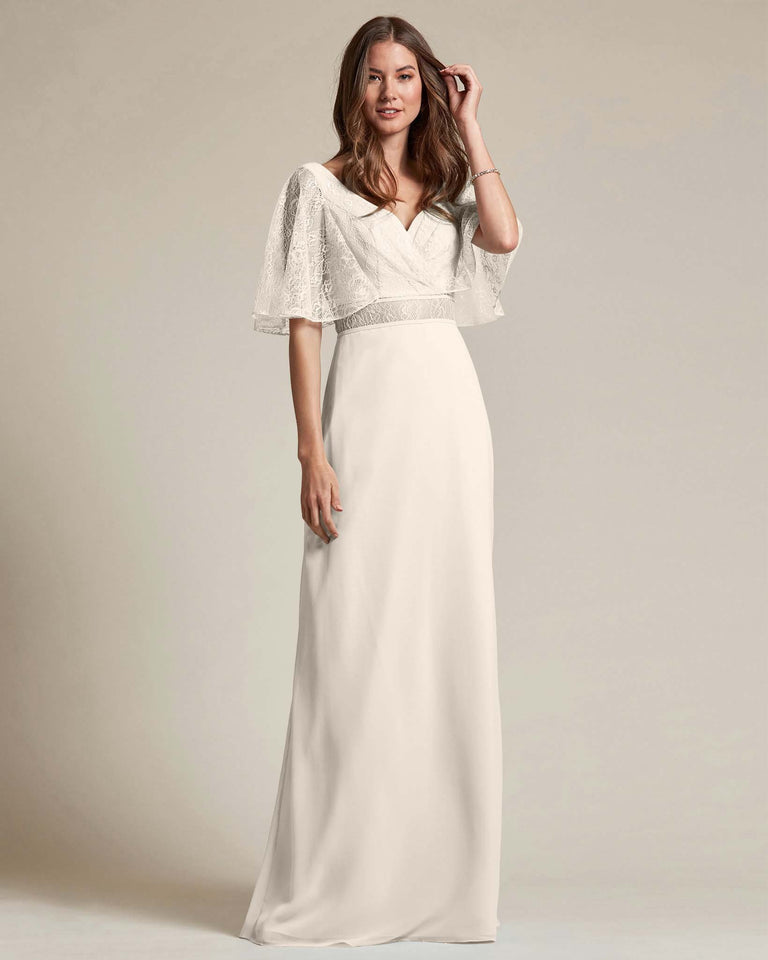 Frost Bell Shaped Lace Sleeves With Waistline Cutout Bridesmaid Dress