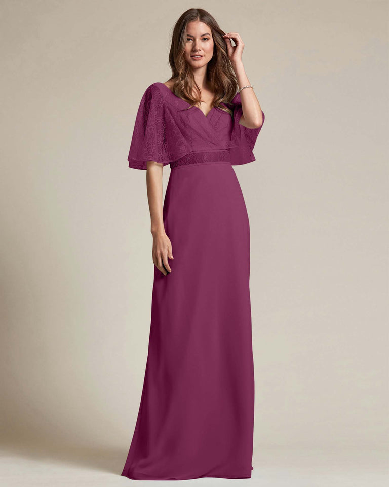 Grape Bell Shaped Lace Sleeves With Waistline Cutout Bridesmaid Dress