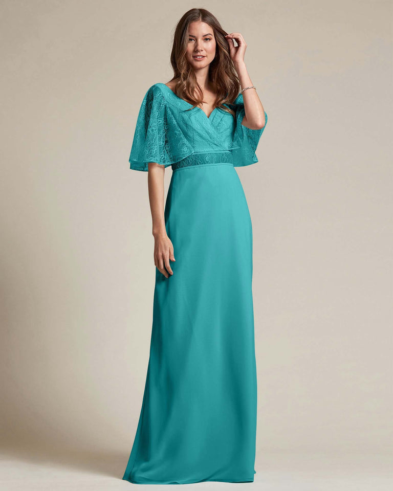 Jade Bell Shaped Lace Sleeves With Waistline Cutout Bridesmaid Dress