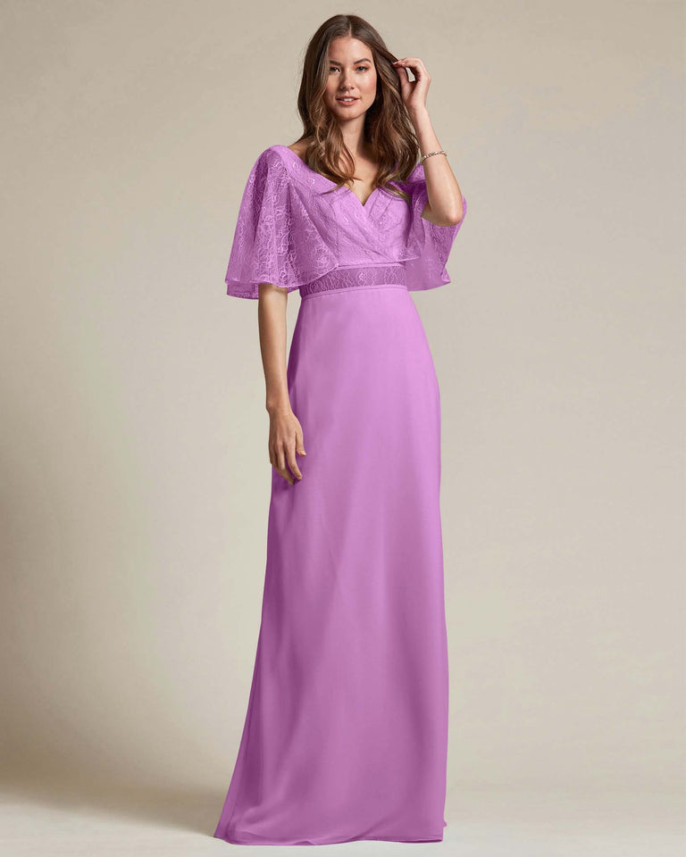 Purple Bell Shaped Lace Sleeves With Waistline Cutout Bridesmaid Dress