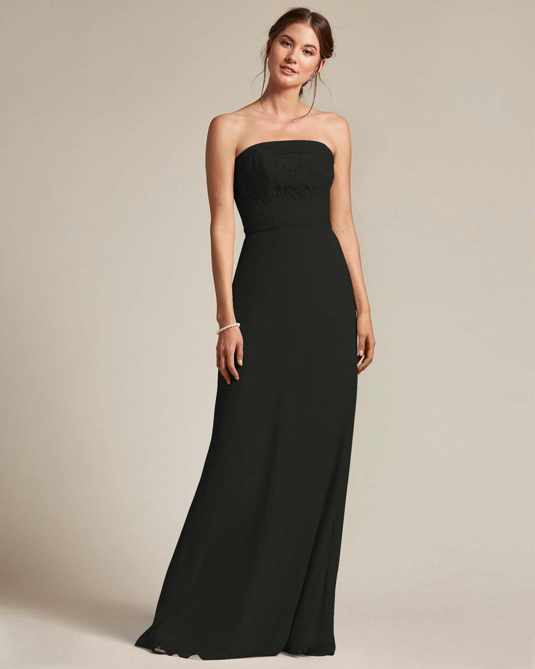 Black Strapless Embroidered Top Gown With Voluminous Bow Adornment