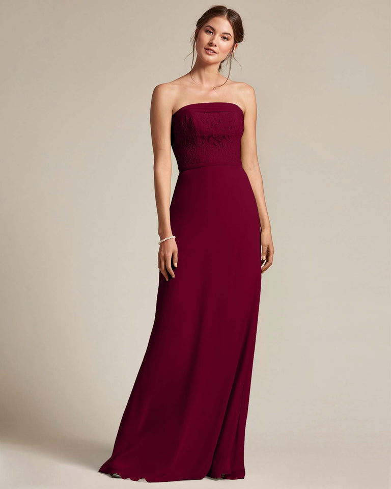 Burgundy Strapless Embroidered Top Gown With Voluminous Bow Adornment