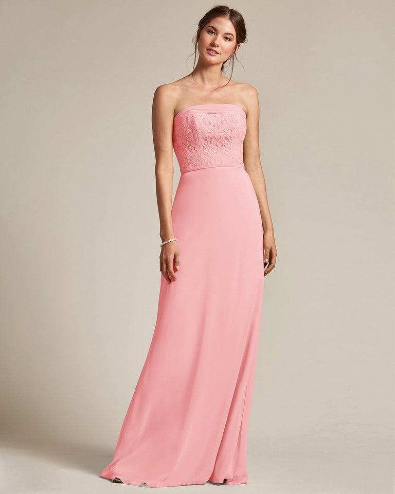 Candy Pink Strapless Embroidered Top Gown With Voluminous Bow Adornment