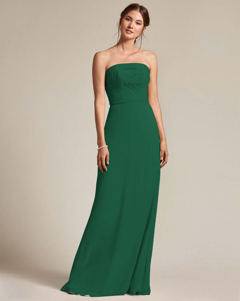 Dark Green Strapless Embroidered Top Gown With Voluminous Bow Adornment