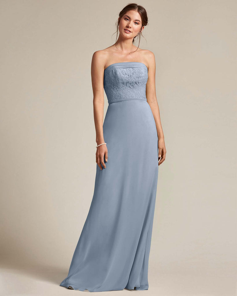 Dusty Blue Strapless Embroidered Top Gown With Voluminous Bow Adornment