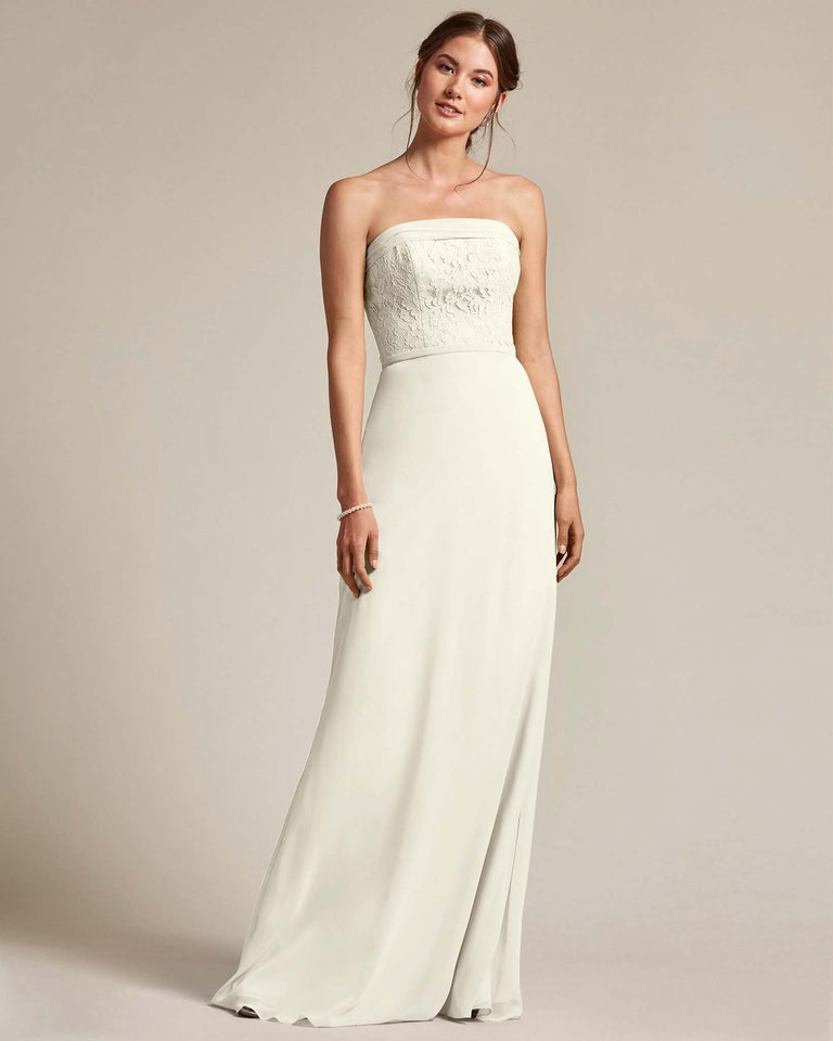 Ivory Strapless Embroidered Top Gown With Voluminous Bow Adornment