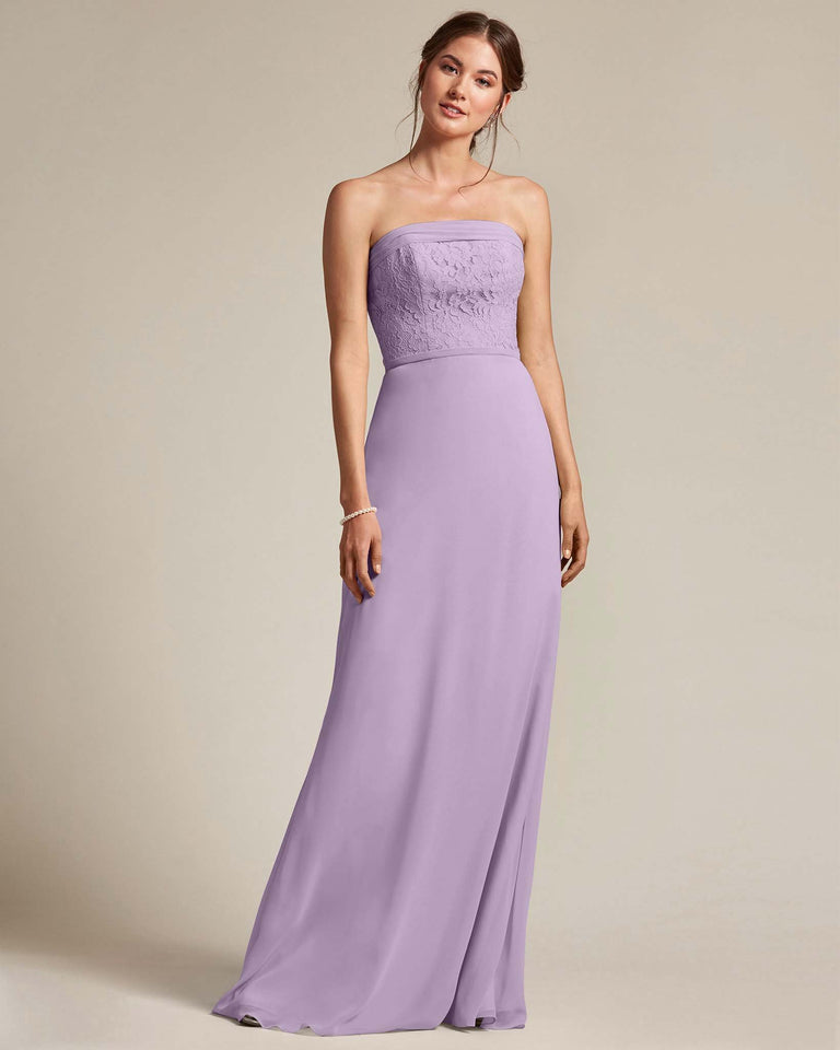 Tahiti Strapless Embroidered Top Gown With Voluminous Bow Adornment