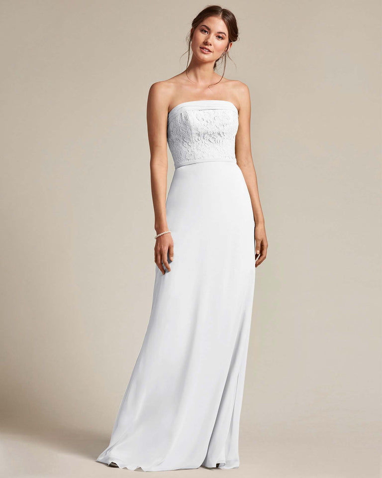 White Strapless Embroidered Top Gown With Voluminous Bow Adornment