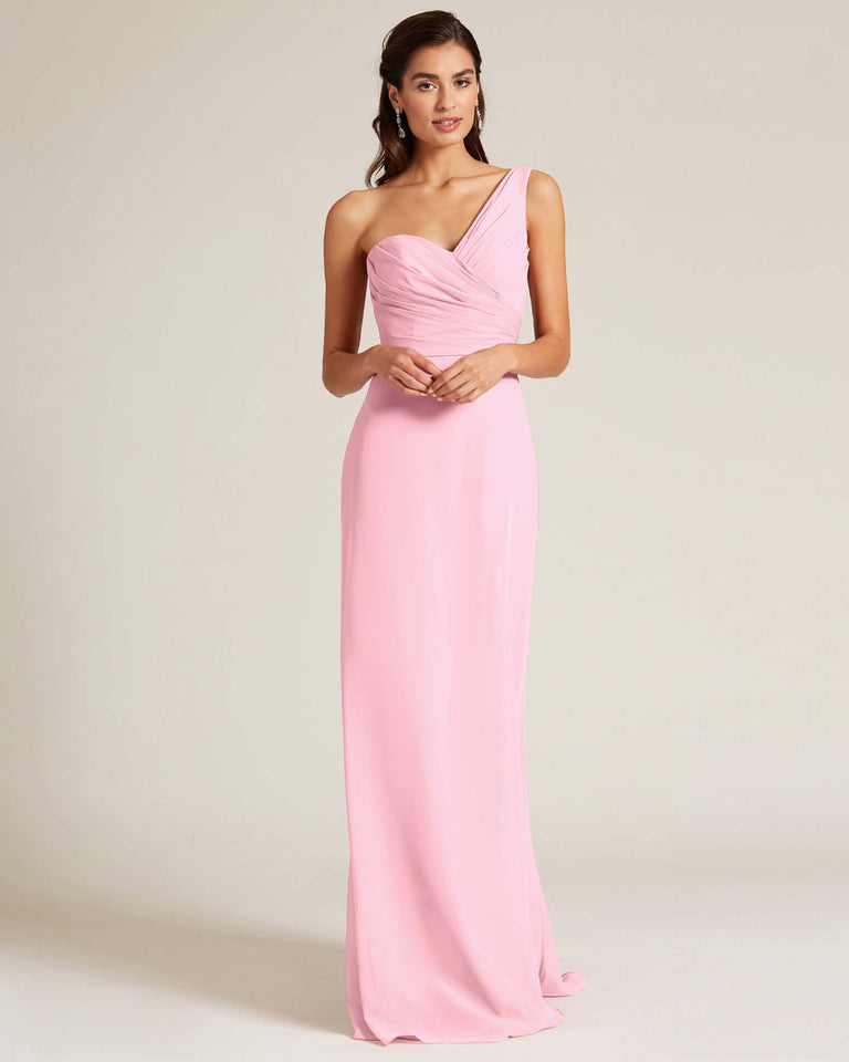 Cherry Blossom Shoulder Ruched Front Evening Dress