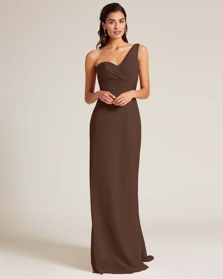 Chocolate Shoulder Ruched Front Evening Dress