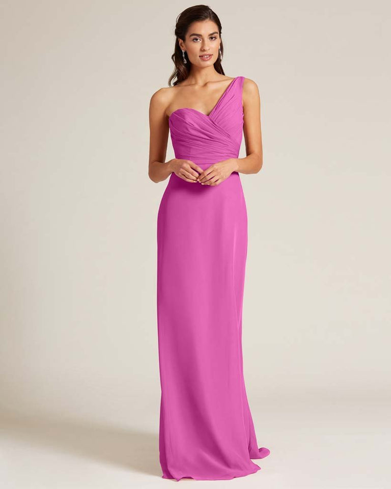 Fuchsia Shoulder Ruched Front Evening Dress