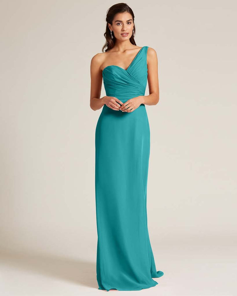 Jade Shoulder Ruched Front Evening Dress
