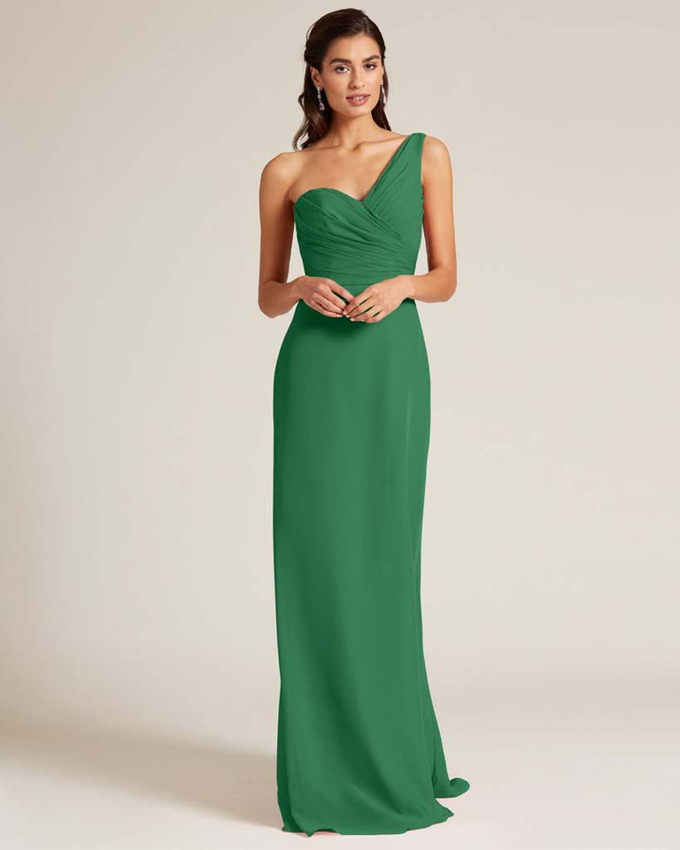 Jolly Green Shoulder Ruched Front Evening Dress