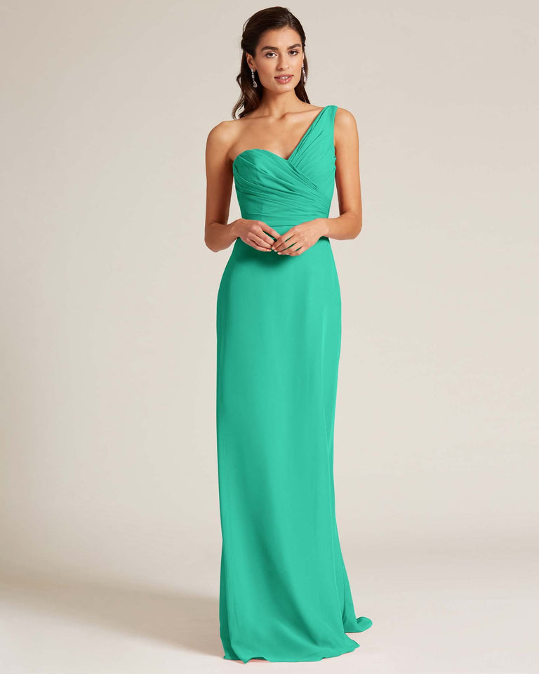Turquoise Shoulder Ruched Front Evening Dress