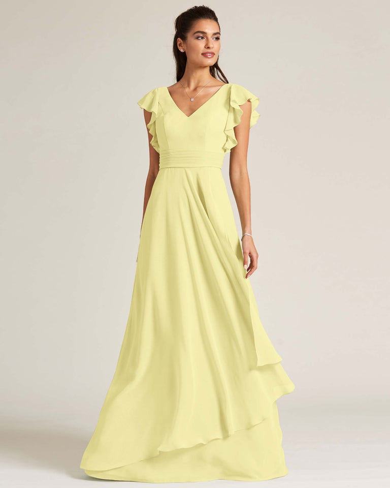 Daffodil Ruffled Cap Sleeve Formal Gown