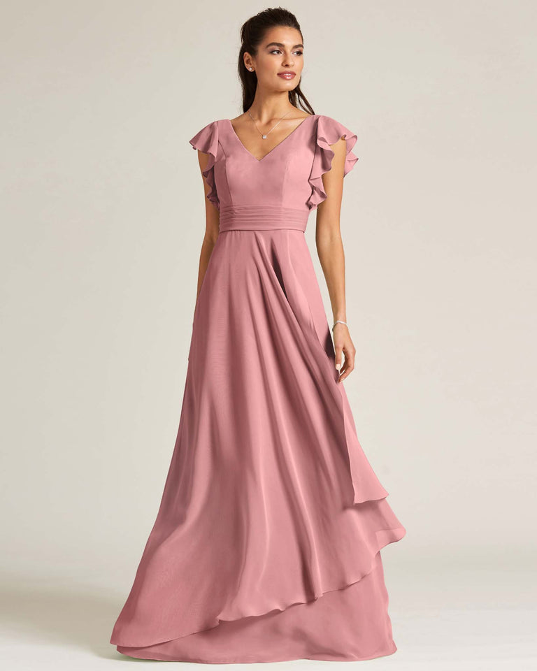 Dusty Rose Ruffled Cap Sleeve Formal Gown