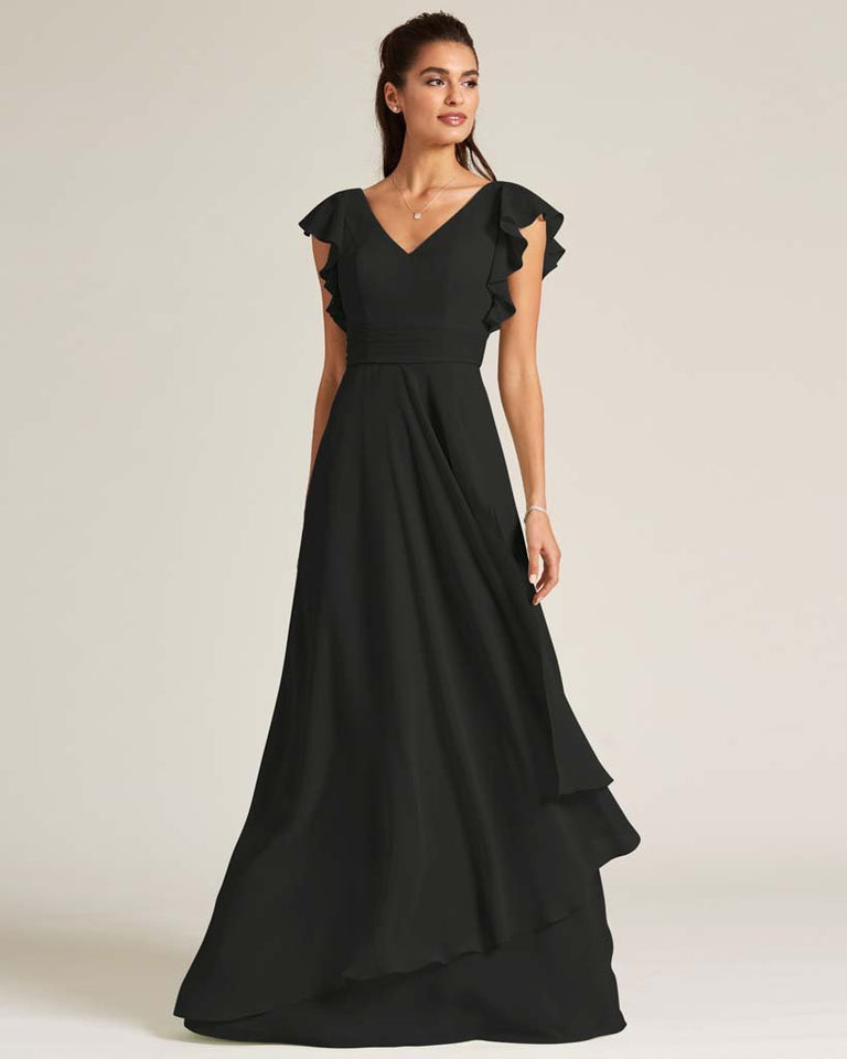 Black Ruffled Cap Sleeve Formal Gown