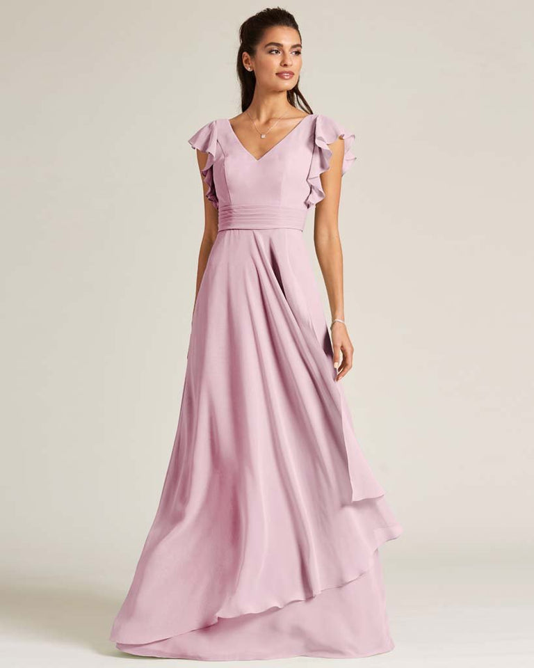 Blushing Pink Ruffled Cap Sleeve Formal Gown