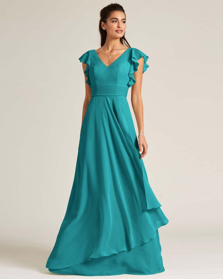 Jade Ruffled Cap Sleeve Formal Gown