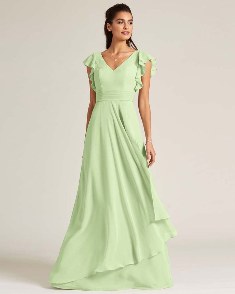 Paradise Sage Ruffled Cap Sleeve Formal Gown