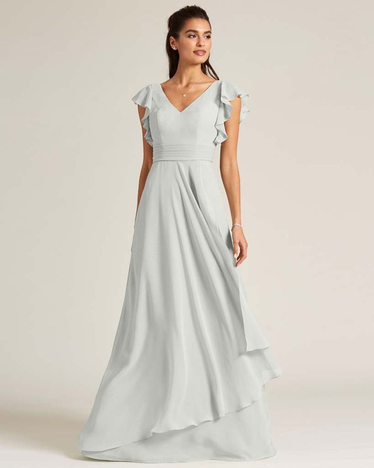 Silver Ruffled Cap Sleeve Formal Gown