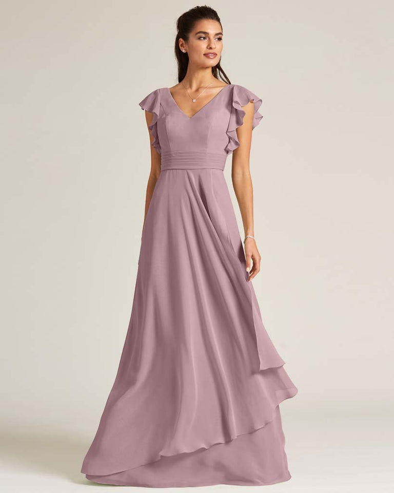 Vintage Mauve Ruffled Cap Sleeve Formal Gown