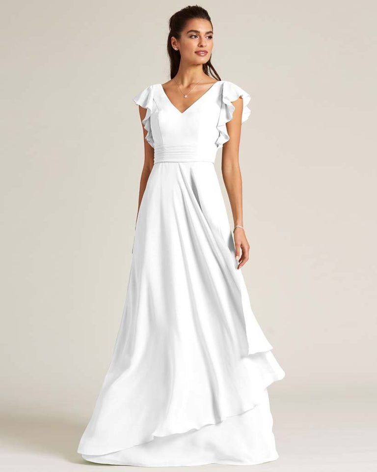 White Ruffled Cap Sleeve Formal Gown