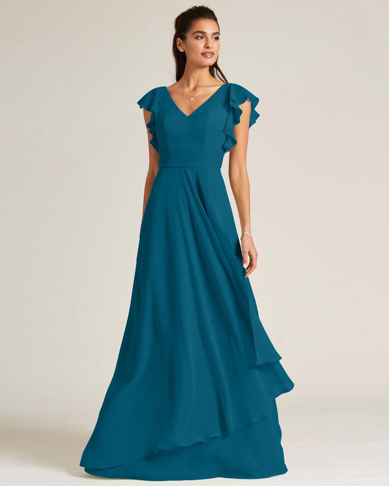 Ink Blue Ruffled Cap Sleeve Formal Gown