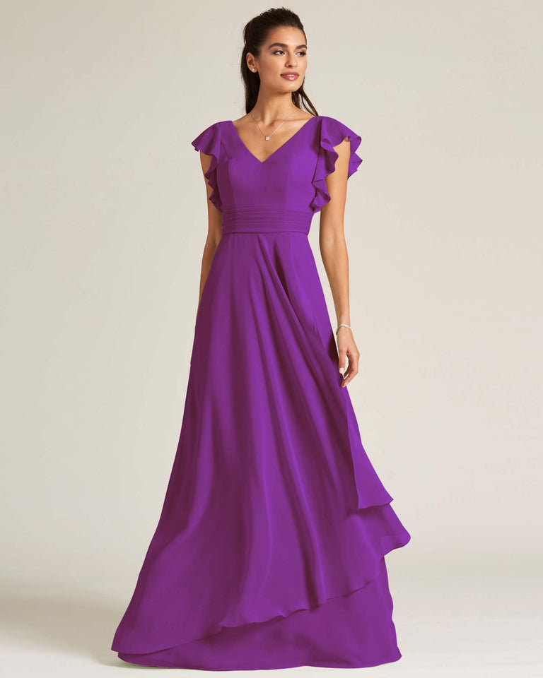 Passion Ruffled Cap Sleeve Formal Gown